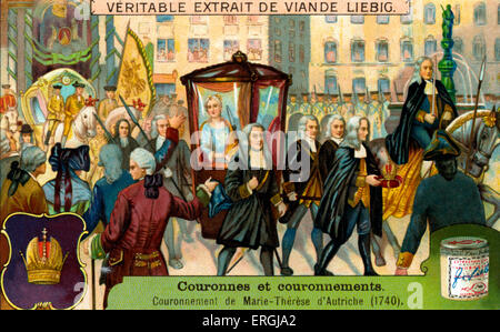 Coronation of Maria Theresa of Austria, 25 June 1741 as Queen of Hungary and Croatia; Archduchess of Austria. Illustration - Stock Photo