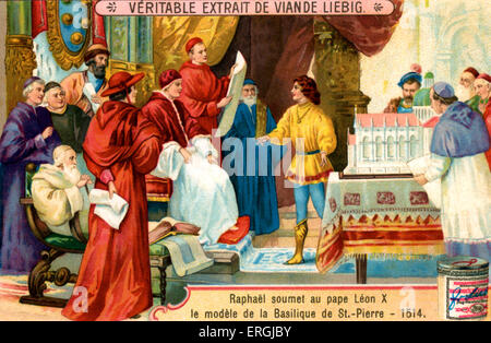 Raphael presenting model of St.Peter's Basilica to Pope Leo X in 1514. Late Renaissance Church in the Vatican, Rome. - Stock Photo
