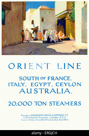 Orient Line cruise ship travel advertisement, 1930. Caption reads: 'Orient Line. South of France, Italy, Egypt, - Stock Photo