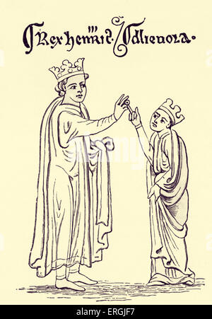 Henry III 's marriage to Eleanor of Provence. From drawing by Matthew Paris. MP: Benedictine monk, English chronicler, - Stock Photo