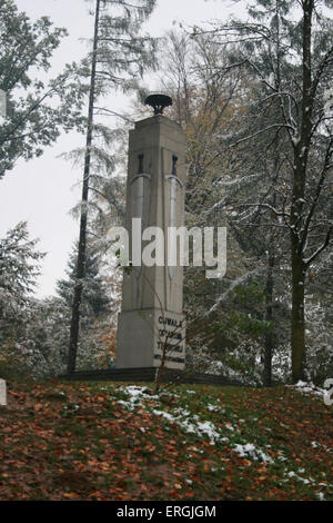 Polish   memorial to the  murdered Poles  from the area of Tarnow who were killed   in June 1942.  They were  executed - Stock Photo