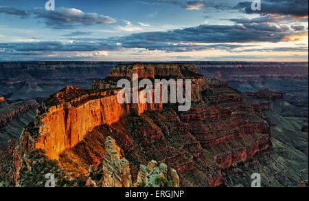 Evening light bathes Wotans Throne from Cape Royal on the North Rim of Arizona's Grand Canyon National Park. - Stock Photo
