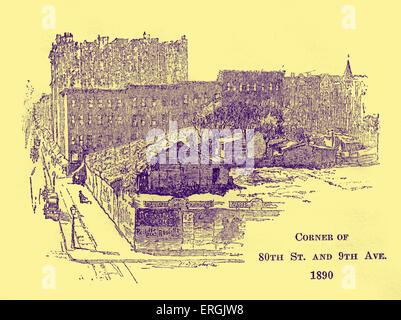 Corner of 80th Street and 9th Avenue, New York 1890. Late nineteenth-century illustration - Stock Photo