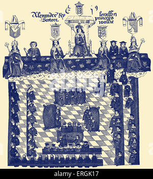 English House of Lords under Edward I. From drawing made during reign of Edward IV (1461 - 1470 & 1471- 1480). EI: - Stock Photo