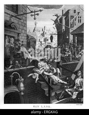 Gin Lane by William Hogarth, 1751. Coupled with Beer Street, these engravings supported the Gin Act of 1751.Engraved - Stock Photo