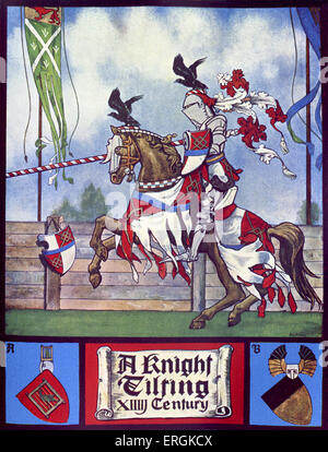 14th century knight jousting for sport. Caption reads 'A Knight Tilting'.  Herbert Norris atist  died 1950 - may - Stock Photo
