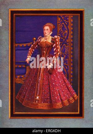 Queen Elizabeth Tudor (1533-1603), portrait painted 1570. After portrait painted by Federigo Zuccaro (1540-1609). - Stock Photo