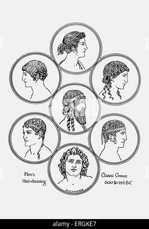 Ancient Greek hairstyles. Example of men's hairdressing in classical Greece, 600- 146 BC.  Herbert Norris artist - Stock Photo