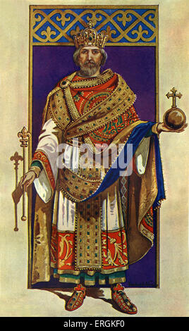 Emperor Charlemagne 742 – 814. King of the Franks from 768 - 814, King of the Lombards from 774 - 814, and head - Stock Photo