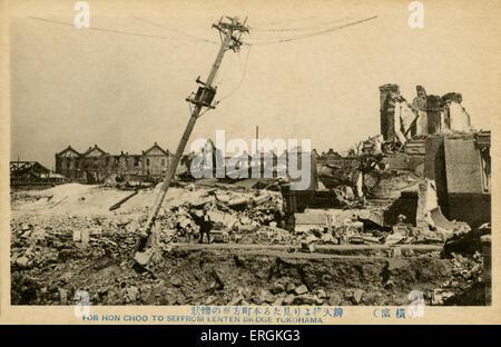 Ruins of Hon Cho, Yokohama, Japan. On September 1st, 1923, the Great Kanto Earthquake struck Yokohama, levelling - Stock Photo