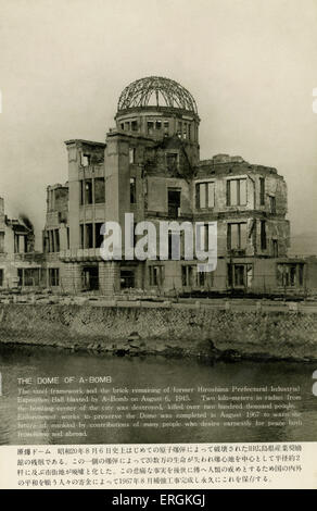 Hiroshima, Japan. Ruins after first Atomic Strike. Caption reads: ' The Dome of A-Bomb: The steel framework and - Stock Photo
