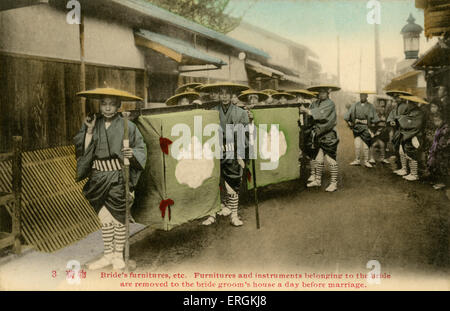 Japanese marriage procession, in which the bride's possessions are carried to her husband's estate. Caption reads: - Stock Photo