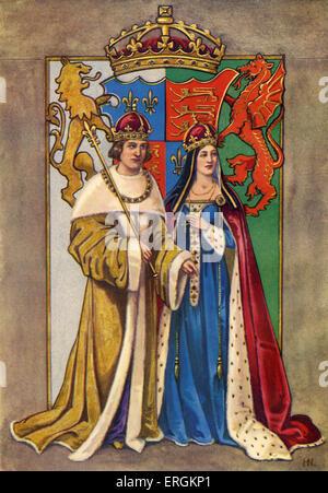 King Henry VII of England (1457-1509) pictured with wife Queen Elysabeth / Queen Elizabeth / Elizabeth of York (1466 - Stock Photo