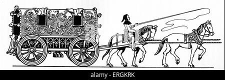 A Whirlicote - a fourteenth century English carriage. After original by  Herbert Norris artist  died 1950 - may - Stock Photo