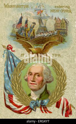 George Washington (1732-1799) entering New York. In November 1783 the British evacuated New York, and Washington - Stock Photo