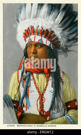 A Jicarilla Apache American. Photo taken early 20th century, the Jicarilla were removed from their land in the 19th - Stock Photo