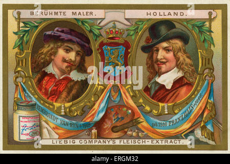 Rembrandt van Ryn/Rijn (1606-1669) and Franz Hals (1580-1666) famous artists of the Dutch Golden Age. Liebig card, - Stock Photo