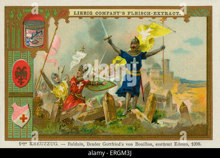 Baldwin of Boulogne, brother of Godfrey of Bouillon, entering Edessa in 1098 as part of the First Crusade (1096–1099). - Stock Photo