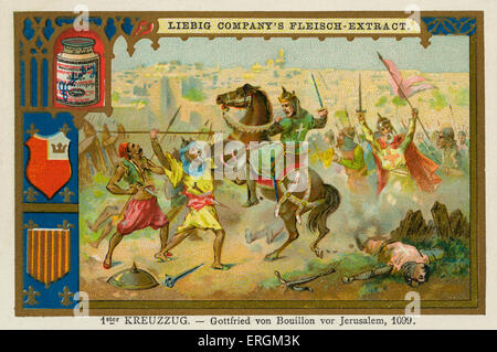 Godfrey of Bouillon at the Siege of Jeruslaem in 1099. (German: 1st Kreuzzug-  Gottfried von Bouillon von Jerusalem, - Stock Photo