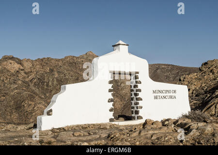 Sign Municipio de Betancuria, Degollada de Los Granadillos, Viewpoint,  Fuerteventura Canary Islands, Spain - Stock Photo