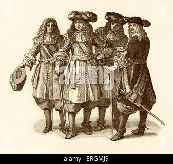 Louis XIV with officers and staff. Louis XIV (1638-1715), King of France, after a tapestry at Versailles. - Stock Photo