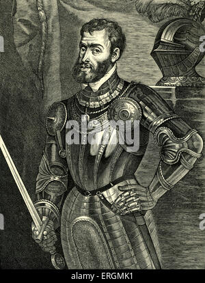 Charles V  - portrait of Holy  Roman emperor 24 February 1500 - 21 September 1558. Known as Carlos I de España y - Stock Photo