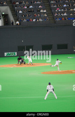 The Hokkaido Nippon Ham Fighters professional baseball team play at their home stadium - the Sapporo Dome in Hokkaido, - Stock Photo