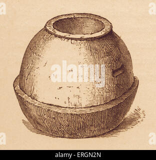 A primitive stone quern, used in the grinding of cereals and corn into flower. After an illustration from the archaeological - Stock Photo