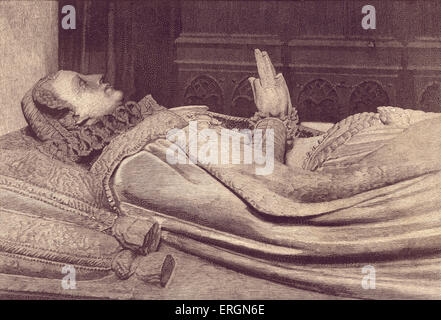 Effigy of Mary Queen of Scots (1542- 1587) on her tomb. Queen regnant of Scotland (1542 - 1567)  and queen consort - Stock Photo