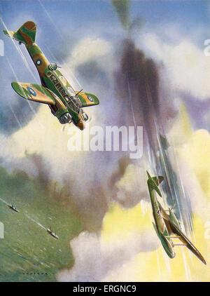 WW2 - Air battles between RAF and Luftwaffe. Captions reads: 'An Avro-Anson of the coastal command destroys a Dornier'. - Stock Photo