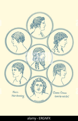 Ancient Greek hairstyles. Example of men's hairdressing in classical Greece, 600- 146 BC.After original by  Herbert - Stock Photo
