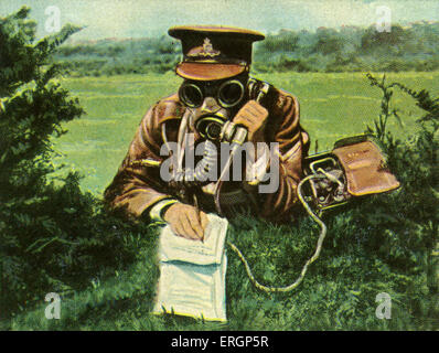 British military telephonist with gas mask during transmission to HQ.   (Source: Cigarette cards published in Germany - Stock Photo