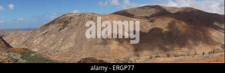 Mountain Panorama from  Degollada de Los Granadillos, Viewpoint,  Fuerteventura Canary Islands, Spain - Stock Photo