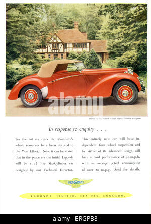 1940s Car Advertisment for Lagonda Limited. Soft top Lagonda 12 Cvl. 'Rapide' Coupe. British motoring. - Stock Photo