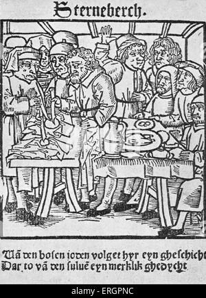 Jews of Sternberg represented as transfixing hosts. Anti-semitic woodcut from Lubeck 1492.( Defiling the host or - Stock Photo
