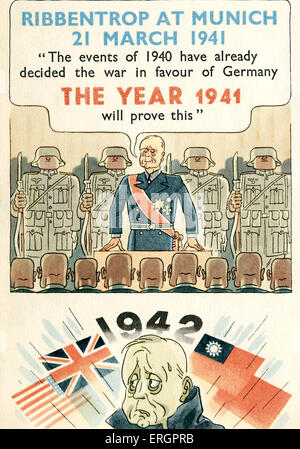 Joachim von Ribbentrop, caricature. A proud Ribbentrop is shown speaking at Munich in 1941: 'The events of the year - Stock Photo