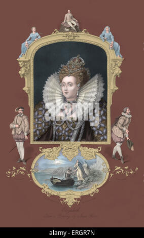 Elizabeth I, portrait. Queen of England from 1558 until her death. 7 September 1533 – 24 March 1603. - Stock Photo