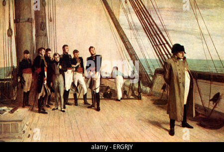 Napoléon Bonaparte on board the 'Bellérophon'.  After painting by Sir W.Q. Orchardson, R.A.  Napoleon I. Early 20th - Stock Photo