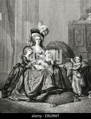 Marie -Antoinette, Queen of France, and her children: Louis-Joseph-Xavier-Francois (1781-1789), Louis-Charles de - Stock Photo