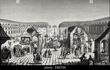 Daily life in French history: the St Ovide Fair (fairground) on Place Louis-Le-Grand, Paris, showing 18th century - Stock Photo