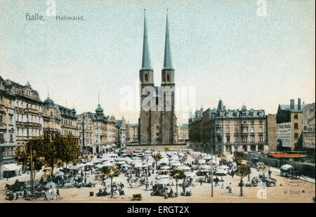 Halle - illustration of city market square Germany - Stock Photo