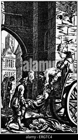 The Great Plague in London - 1665 Illustration of men loading dead bodies onto a cart.  Engraving by N. Sherlock - Stock Photo