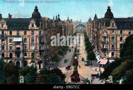 Frankfurt am Main, Germany  - Kaiser Strasse with the main train station. Street scene on painted photographic postcard. - Stock Photo