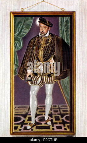 Henry II (French: Henri II) - portrait of King of France,  member of the Valois Dynasty. Engraving, illustration. - Stock Photo