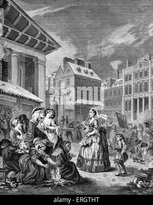 Morning - London streets - engraving by William Hogarth, English painter and artist November 10, 1697 -October 26, - Stock Photo