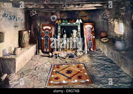 Native American altar room of the Powamu society in a Hopi house, Grand Canyon, Arizona. Idols from left to right: - Stock Photo