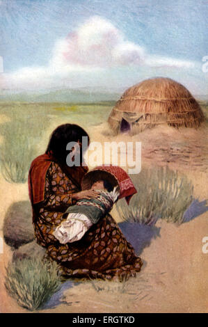 Native American mother with child from the Pima tribe. In the background: dome shaped hut made of pliable poles, - Stock Photo