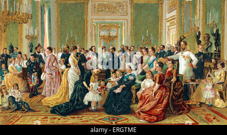 Queen Victoria of England - family portrait at Windsor Castle. 24 May 1819 – 22 January 1901. - Stock Photo