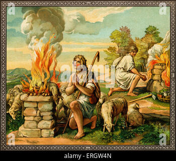 The offerings of Cain and Abel - Abel the shepherd's sacrifice is  more successful than Cain the farmer. From Old - Stock Photo