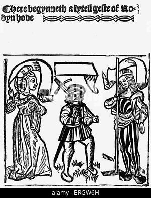 Robin Hood printed by Wynkyn de Worde. Caption reads: 'A lytell geste of Robin Hode'.  Figure in archetypal English - Stock Photo